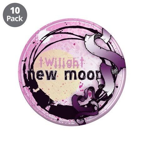 "New Moon Grunge Ribbon Crest 3.5"" Button (10 pack)"