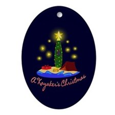 A Kayaker's Christmas Oval Ornament
