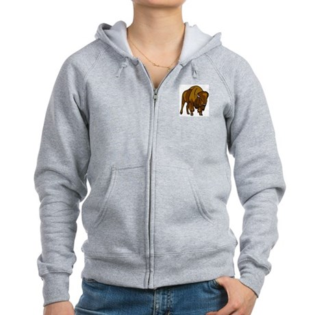 American Bison/Buffalo Women's Zip Hoodie