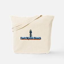 Fort Myers Beach FL - Lighthouse Design Tote Bag