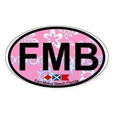 Fort Myers Beach FL - Oval Design Oval Decal