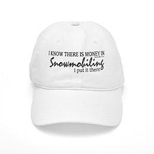 Money in Snowmobiling Baseball Cap