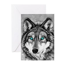 Painted Wolf Grayscale Christmas Cards (Pk of 20)