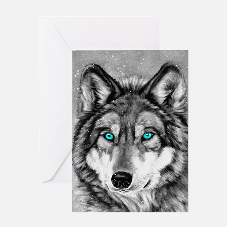 Painted Wolf Grayscale Christmas Card