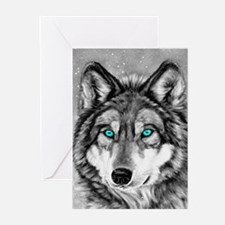 Painted Wolf Grayscale Christmas Cards (Pk of 10)