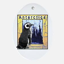 Antarctica Penguin Oval Ornament