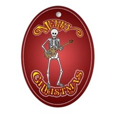 Cigar Box Skeleton Guitarist Christmas Ornament