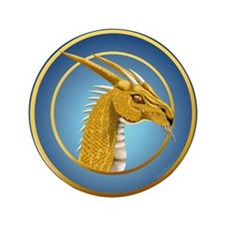 """Gold Dragon Face 3.5"""" Button (100 pack)"""