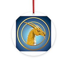 Gold Dragon Face Ornament (Round)