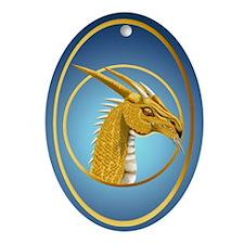 Gold Dragon Face Oval Ornament