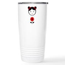 Girl Red Flower Travel Coffee Mug
