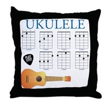 Ukulele 7 Chords Throw Pillow