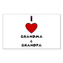 I LOVE GRANDMA AND GRANDPA Rectangle Decal