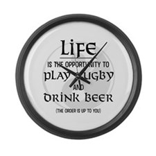 Rugby and Beer Large Wall Clock