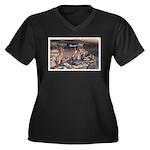 Mystery Cave Women's Plus Size V-Neck Dark T-Shirt