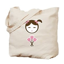 Child Pink Tulips Tote Bag