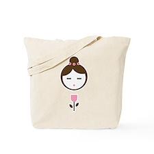 Girl Pink Tulip Tote Bag