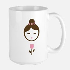 Girl Pink Tulip Large Mug