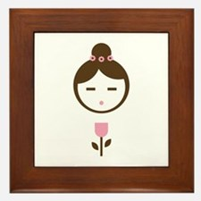 Girl Pink Tulip Framed Tile