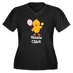 Tennis Chick Women's Plus Size V-Neck Dark T-Shirt