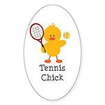 Tennis Chick Oval Sticker (10 pk)
