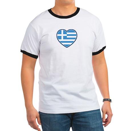 Greece Flag Heart Ringer T-Shirt