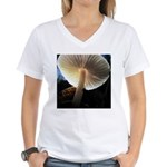 Mushroom Gills Backlit Women's V-Neck T-Shirt