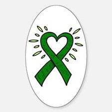 Donor Heart Ribbon Oval Decal
