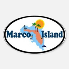Marco Island FL - Map Design Oval Decal