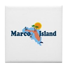 Marco Island FL - Map Design Tile Coaster