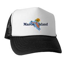 Marco Island FL - Map Design Trucker Hat