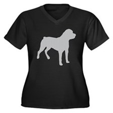 Rottweiler Shadow Women's Plus Size V-Neck Dark T-