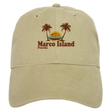 Marco Island FL - Sun and Palm Trees Design Cap