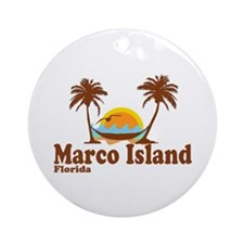 Marco Island FL - Sun and Palm Trees Design Orname