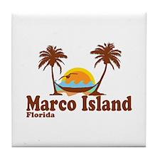 Marco Island FL - Sun and Palm Trees Design Tile C