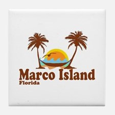 Marco Island FL - Sun and Palm Trees Design Tile C
