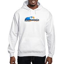 Pensacola Beach FL - Waves Design Hoodie Sweatshirt