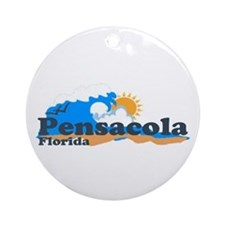 Pensacola Beach FL - Waves Design Ornament (Round)