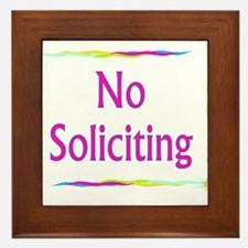 Rainbow No Soliciting Framed Tile
