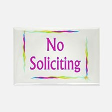 Rainbow No Soliciting Rectangle Magnet