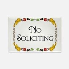 Cat Design No Soliciting Rectangle Magnet