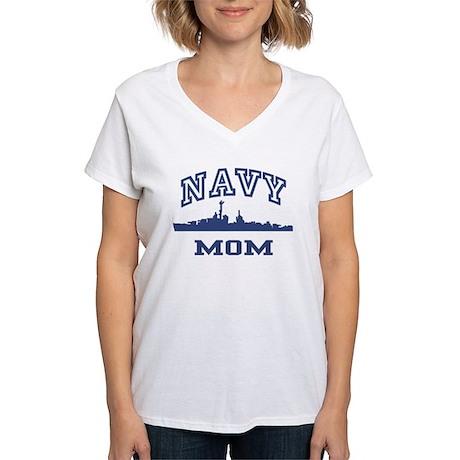 Navy Mom Women's V-Neck T-Shirt