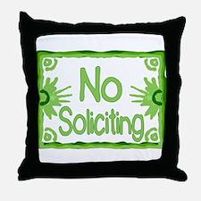 Green No Soliciting Throw Pillow