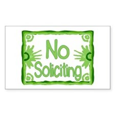Green No Soliciting Rectangle Decal