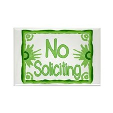 Green No Soliciting Rectangle Magnet
