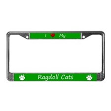 Green I Love My Ragdoll Cats License Plate Frame