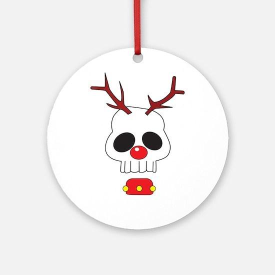 Skull - Reindeer Ornament (Round)