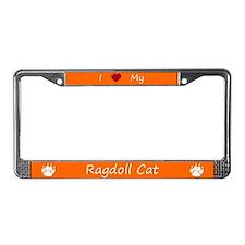 Orange I Love My Ragdoll Cat License Plate Frame