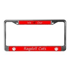 Red We Love Our Ragdoll Cats License Plate Frame