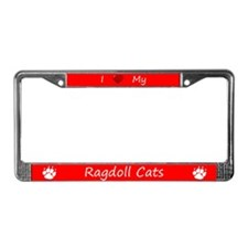 Red I Love My Ragdoll Cats License Plate Frame